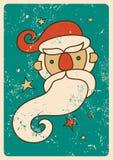 Design för kort för tappningjulhälsning med Santa Claus Grunge vektorillustration Arkivbild