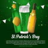 Design för kort för inbjudan för helgonPatricks dag med skatten av trollet på suddig grön bakgrund royaltyfri illustrationer