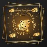 Design 2019 för kort för lyckligt nytt år guld- vektor illustrationer