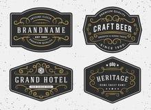 Design för krusidullkalligrafiram för etiketter, baner vektor illustrationer