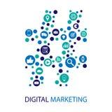 Design för lägenhet för Digital marknadsföringsillustration Arkivbild