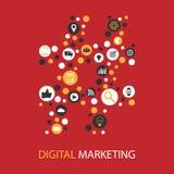 Design för lägenhet för Digital marknadsföringsillustration Royaltyfri Bild