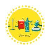 Design för lägenhet för rättvis rättegångbegreppssymbol Arkivfoto