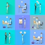 Design för lägenhet för skrivbord för kontor för funktionsduglig uppsättning för affärskvinna stock illustrationer