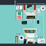 Design för lägenhet för teknologi för workspace för vektoraffärsmanidékläckning Royaltyfri Bild