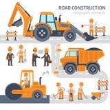 Design för lägenhet för vektor för beståndsdelar för vägkonstruktion infographic Konstruktion arbetare, grävskopa, rulle, bulldoz stock illustrationer