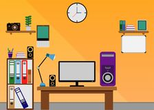 Design för lägenhet för tabell för rumdatorkontor Royaltyfria Bilder