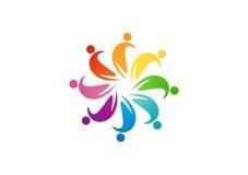 Design för lagarbetslogo, cirkelfolkabstrakt begrepp, modern affär, anslutning Royaltyfri Foto