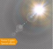 Design för ljus effekt för abstrakt solfackla för linsguldframdel genomskinlig special Arkivbild