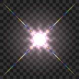 Design för ljus effekt för signalljus för främre lins för vektor glödande på genomskinlig bakgrund stock illustrationer