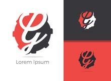 Design för logo för bokstav för mekanikerTool G, bokstavsG i kugghjulvektorsymbol Stock Illustrationer