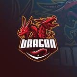 Design för logo för drakevektormaskot med modern illustrationbegreppsstil för emblem-, emblem- och tshirtutskrift ilsken drake vektor illustrationer