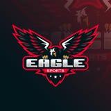 Design för logo för Eagle vektormaskot med modern illustrationbegreppsstil för emblem-, emblem- och tshirtutskrift Eagle Illustra royaltyfri illustrationer