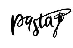 Design för logo för pastahandbokstäver Tecknad illustration för vektor hand Arkivfoto