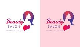 Design för logo för skönhetsalong med den kvinnliga framsidan och frisyr för stylistmärke vektor illustrationer