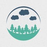 Design för logo för vektoreco stil rundad plan Royaltyfri Illustrationer