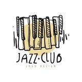 Design för logo för jazzklubba, tappningmusiketikett med pianotangentbordet, beståndsdel för reklamblad, kort, broschyr eller ban vektor illustrationer