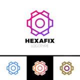 Design för logo för mekanikerGear Fix Hexagon abstrakt begrepp vektor illustrationer