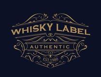 Design för logo för ram för tappning för typografi för whiskyetikett antik stock illustrationer