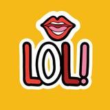 Design för Lol Sticker Social Media Network meddelandeemblem Arkivbilder