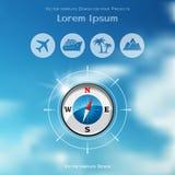 Design för loppbroschyrräkning med kompasssymbolen stock illustrationer