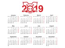 Design för mall 2019 för design för årskalenderhorisontalvektor enkel och ren, Kalender för året 2019 med stiliserat symbol av vektor illustrationer