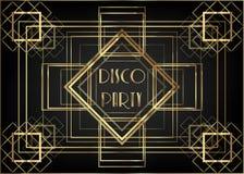 Design för mall för Art Deco tappninginbjudan med illustrationen av det guld- geometriska motivet Modeller och ramar Retro partib Arkivfoto