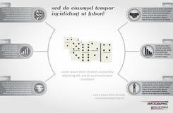 Design för mall för riskbegreppsrunda infographic med dominobrickabeståndsdelen Fotografering för Bildbyråer