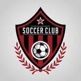 Design för mall för fotbollemblemlogo, fotbolllag, vektor Sport symbol stock illustrationer