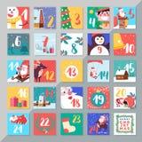 Design för mall för kalender för julferieadvent Glad xmas da stock illustrationer