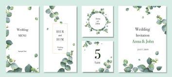 Design för mall för kort för inbjudan för bröllop för vattenfärgvektor fastställd med gröna eukalyptussidor royaltyfri illustrationer