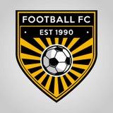 Design för mall för logo för fotbollfotbollemblem, fotbolllag, vektor Sport symbol stock illustrationer