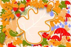 Design för mall för prövkopia för reklamblad för Hello höstförsäljning Ljusa nedgångek och lönnlöv och ekollonar Affisch, kort, e vektor illustrationer