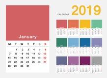 Design för mall för design för vektor för färgrik kalender för år 2019 horisontalenkel och ren, Arkivbild