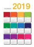 Design för mall för design för vektor för färgrik kalender för år 2019 horisontalenkel och ren, Arkivfoton