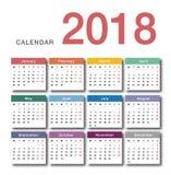 Design för mall för design för vektor för färgrik kalender för år 2018 horisontalenkel och ren, Royaltyfria Foton