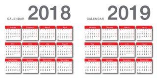 Design för mall för design för vektor för färgrik kalender för år 2018 och för år 2019 horisontalenkel och ren, 8 royaltyfri illustrationer