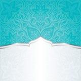 Design för mandala för bakgrund för inbjudan för tappning för turkosgräsplanblått blom- vektor illustrationer