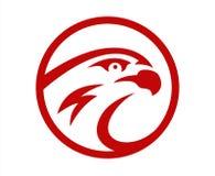 Design för maskot för logo för lag för lek för lek för sport för för vektorfalk eller hök head Amerikanskt löst tecken för symbol stock illustrationer