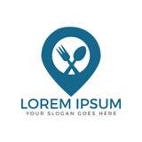 Design för matpunktlogo Skeden, gaffeln och stiftet undertecknar logomallen Arkivbild