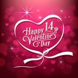 Design för meddelande för lycklig dag för valentin` s vit på rosa bakgrund stock illustrationer