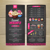Design för meny för efterrätt för tappningkritateckning söt muffin royaltyfri illustrationer