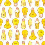 Design för modell för ljusa kulor för lampa hand dragen sömlös Royaltyfri Bild