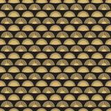 Design för modell för guld- handfan sömlös Abstrakt geometrisk fantextur stock illustrationer