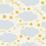 Design för modell för moln- och stjärnaungar sömlös royaltyfri illustrationer