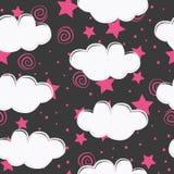 Design för modell för moln- och stjärnaungar sömlös vektor illustrationer