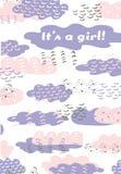 Design för moln för färgrik hand för pik för vektor purpurfärgad grafisk utdragen för nyfödd ankomst Behandla som ett barn mallen stock illustrationer