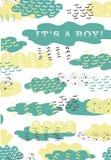 Design för moln för grafisk hand för vektor färgrik blå grön utdragen för nyfödd ankomst Behandla som ett barn mallen för pojkefö royaltyfri illustrationer