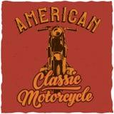 Design för motorcykelt-skjorta etikett Royaltyfri Foto