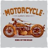 Design för motorcykelt-skjorta etikett Royaltyfria Bilder
